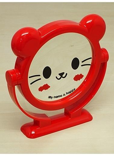 Kitchen Love Kedi Desenli  Çift Taraflı Makyaj Aynası Kırmızı